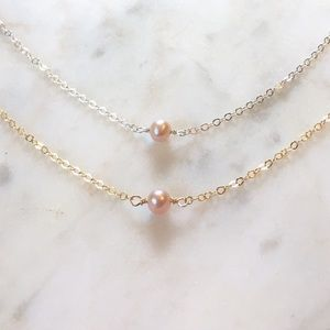 Jewelry - Genuine Freshwater Pink Pearl Necklace Choker